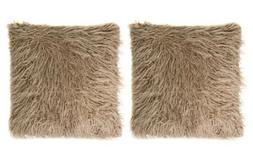 """Mongolian Faux Fur 18"""" x 18"""" Throw Pillows  in Taupe"""