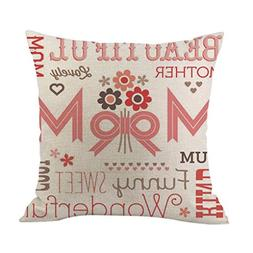 Popoka Mother's Day Gift Throw Pillow Cover I Love Mom Cotto