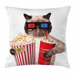 Ambesonne Movie Theater Decor Throw Pillow Cushion Cover, Ca
