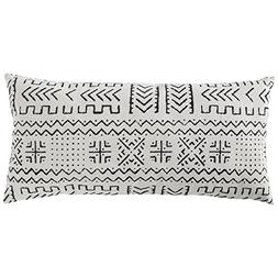 """Rivet Mudcloth-Inspired Pillow, 12"""" x 24"""", Pale Gray"""