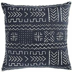 """Mudcloth-Inspired Throw Pillows Pillow, 17"""" X 17"""", Navy Home"""