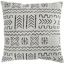"""Mudcloth-Inspired Throw Pillows Pillow, 17"""" X 17"""", Pale Gray"""