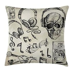 Music Throw Pillow Cushion Cover by Ambesonne, Sketchy Backg