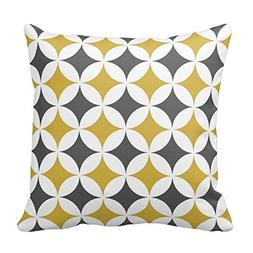 Mustard and White Circles Polyester Throw Pillow Case Cushio