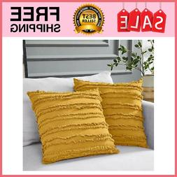 Mustard YELLOW Cotton Linen Throw Pillow Covers For Couch So