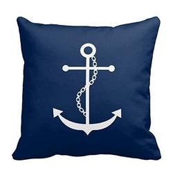 Acelive 18 x 18 inches Navy Blue Anchor Polyester Pillow Cov