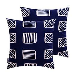 HWY 50 Set of 2 Navy Blue Couch Throw Pillows Covers 18 x 18