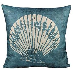 All Smiles Sea Theme Shell Conch Throw Pillow Cover Case Dec