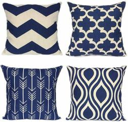 Navy Blue Throw Pillow Cases for Couch -Decorative Set of 4