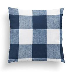 Twig + Bird Navy Blue Buffalo Plaid Throw Pillow Cover Size