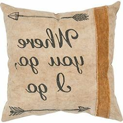 """New Primitives by Kathy 14x14"""" Cotton Canvas Throw Pillow """"W"""