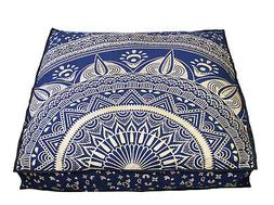 "New 35X35"" Square Cushion Cover Indian Blue Gold Large Floor"