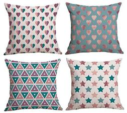 BLUETTEK New Decorative Throw Pillow Covers Set Of 4 18 x 18
