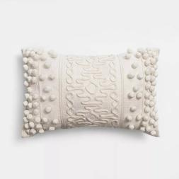 NEW Opalhouse Oblong Pom Throw Pillow Cream 12 x 18 inches