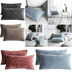 New Pack of 2 Velvet Throw Pillow Covers Rectangle Lumbar Ho