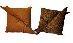 New Set of Two Gold, Wheat and Brown Decorative Throw Pillow