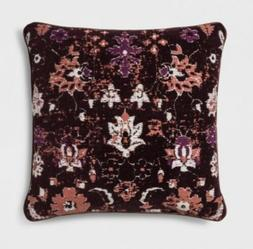 New Threshold Woven Floral Square Throw Pillow Berry Decorat