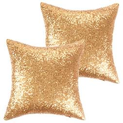 Kevin Textile New Year Decorative Solid Sequins Throw Pillow