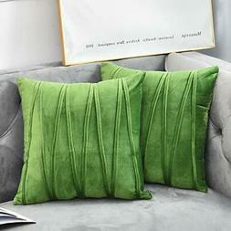 NianEr Velvet Square Throw Pillow Covers Set of 2 Soft Solid