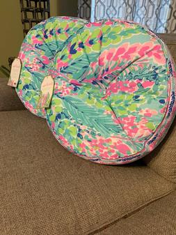 NWT Set/2 LILLY PULITZER Catch The Wave Round Toss Throw Pil