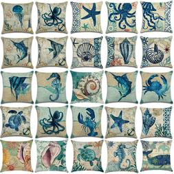 Ocean Animal Sea Theme Sofa Decor Cotton Linen Pillow Cases