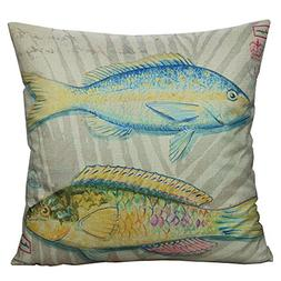 All Smiles Ocean Fish Throw Pillow Cover Case Decorative Out