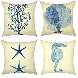 YOUR SMILE Ocean Starfish Square Cotton Linen Decorative Thr