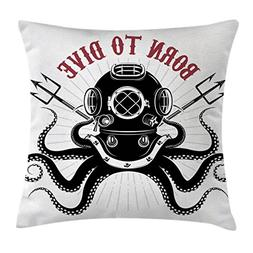 Ambesonne Octopus Throw Pillow Cushion Cover, Octopus with T