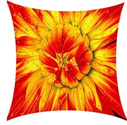 Oil Painting the Autumn Sunflower red and yellow Cotton Line