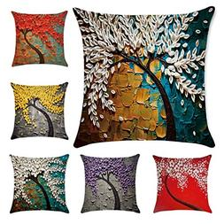 6 Pack Oil Painting Cotton Linen Throw Pillow Case Cushion C