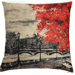 Kate Oil Painting Red Tree Decorative Pillow Cover 18 x 18 I