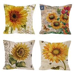 Set of 4 Oil painting sunflower Throw Pillow Case Cushion Co