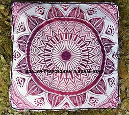 Ombre Mandala Floor Pillow Cover Square Shape Dog Bed Large