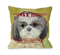One Bella Casa Shih Tzu 2 Throw Pillow 16 by 16in, New