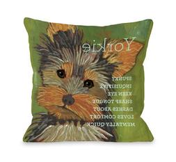 One Bella Casa Yorkshire Terrier 1 Throw Pillow, 18 by 18-In