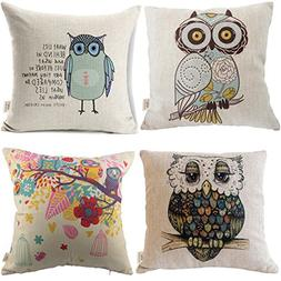 HOSL Owls pattern Square Decorative Throw Pillow Case Cushio