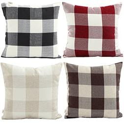 HOSL 4-Pack P114 Retro Checkers Plaids Linen Square Decorati