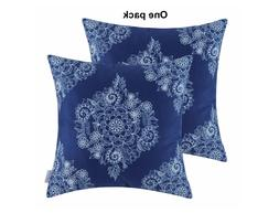 CaliTime Pack of 1 Cozy Throw Pillow Cases Covers, Mandala F