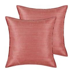 Pack of 2 Coral Pink Throw Pillows Covers Light Weight Dyed