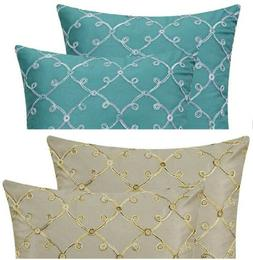 CaliTime Pack of 2 Faux Silk Throw Pillow Covers 18X18 in. C