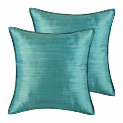 Calitime Pack Of 2 Silky 18 x 18 Throw Pillow Covers Teal