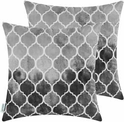 CaliTime Pack of 2 Throw Pillow Covers Hand Painted Geometri