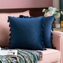 Miulee Pack Of 2 Velvet Soft Solid Decorative Throw Pillow C