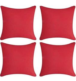 Andreannie Pack of 4 Outdoor Waterproof Decorative Red Throw