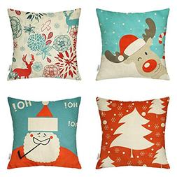 HIPPIH 4 Packs Merry Christmas Square Pillowcases - 18 X 18