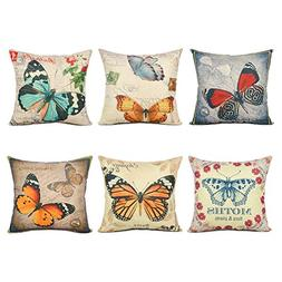 Top Finel Painting Colorful Butterfly Throw Pillow Case Cott