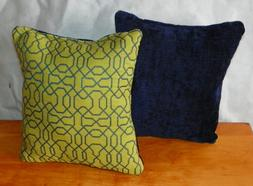 Pair of Green Blue Abstract Print Throw Pillows  10 x 10