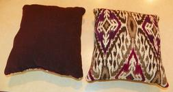 Pair of Purple Cream Abstract Print Throw Pillows  10 x 10