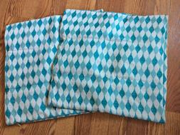 Pair of CaliTime Turquoise & Cream Chenille Pillow Covers  1