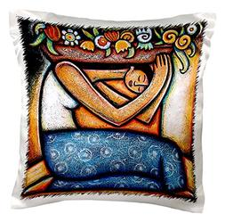 3dRose pc_21129_1 Flower Girl Mexican Art Colorful-Pillow Ca